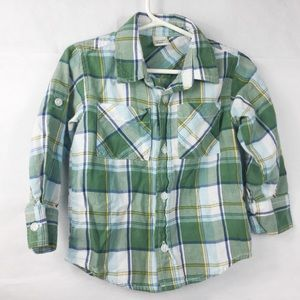 2T Old Navy Plaid Green Button Down Long Sleeve